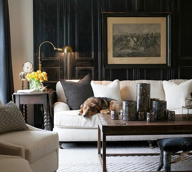 A beautiful fall color palette with cozy sweater pillows! I love the brass table lamp and the black door, all from @seanandersondesign — Designer: @seanandersondesign Source: @seanandersondesign — #greigetextiles #neutraldecor #fallhome #fallhomedecor