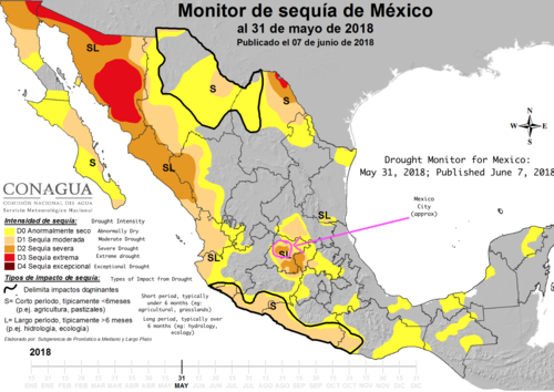 Drought Monitor for Mexico: May 31, 2018. - Drought Monitor for Mexico: May 31, 2018. Source: http://smn.cna.gob.mx/es/component/content/article?id=27