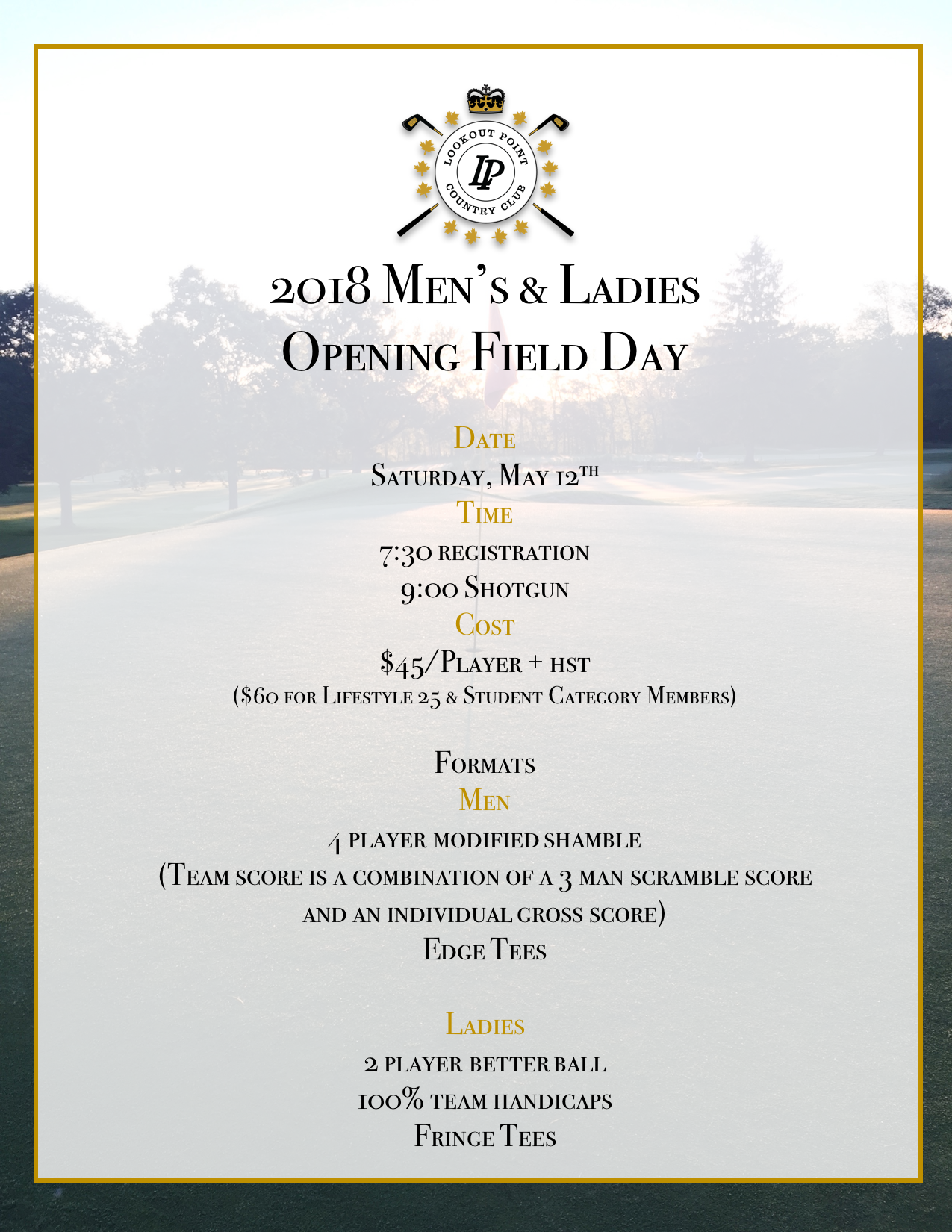 Register Now! - Come celebrate the start of the 2018 season. Click on the image and then sign into Member Central to register.