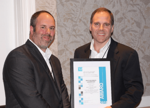 """(Left) James Levy, AICP – President of the APA New York Upstate Chapter. (Right) John Steinmetz, AICP – 2018 """"Upstate Fellow"""" Distinguished Leadership Award Recipient. Photo Credits: New York Upstate Chapter of the American Planning Assoication."""