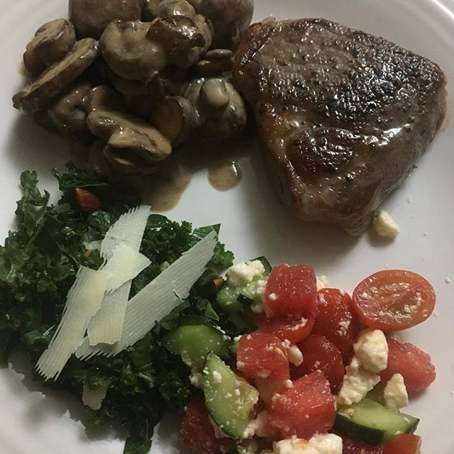 Steak, mushrooms, and two salads. Dinner time. #yum #atxfood
