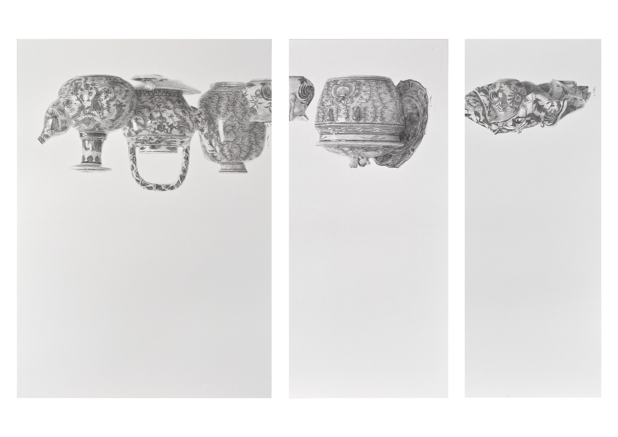 "Hills like white elephants    悬念 (I) (II) (III)  charcoal on paper 2018 74.5cm x 52.5cm 74.5cm x 33.5cm 74.5cm x 27.5cm  exhibited at Art Seasons Gallery ""Still, Singapore Life"" group show.  past series:  Hills Like White Elephants"
