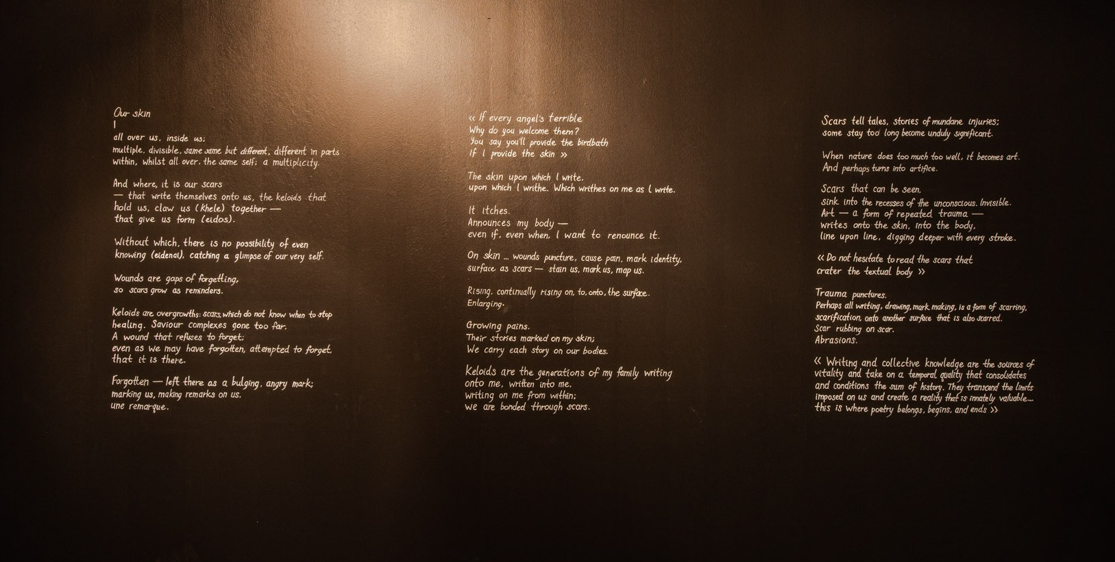 The scars that write us,  part three of installation of keloid relief on steel plates and writings (collaboration with Dr. Jeremy Fernando), Singapore Art Museum, 2019
