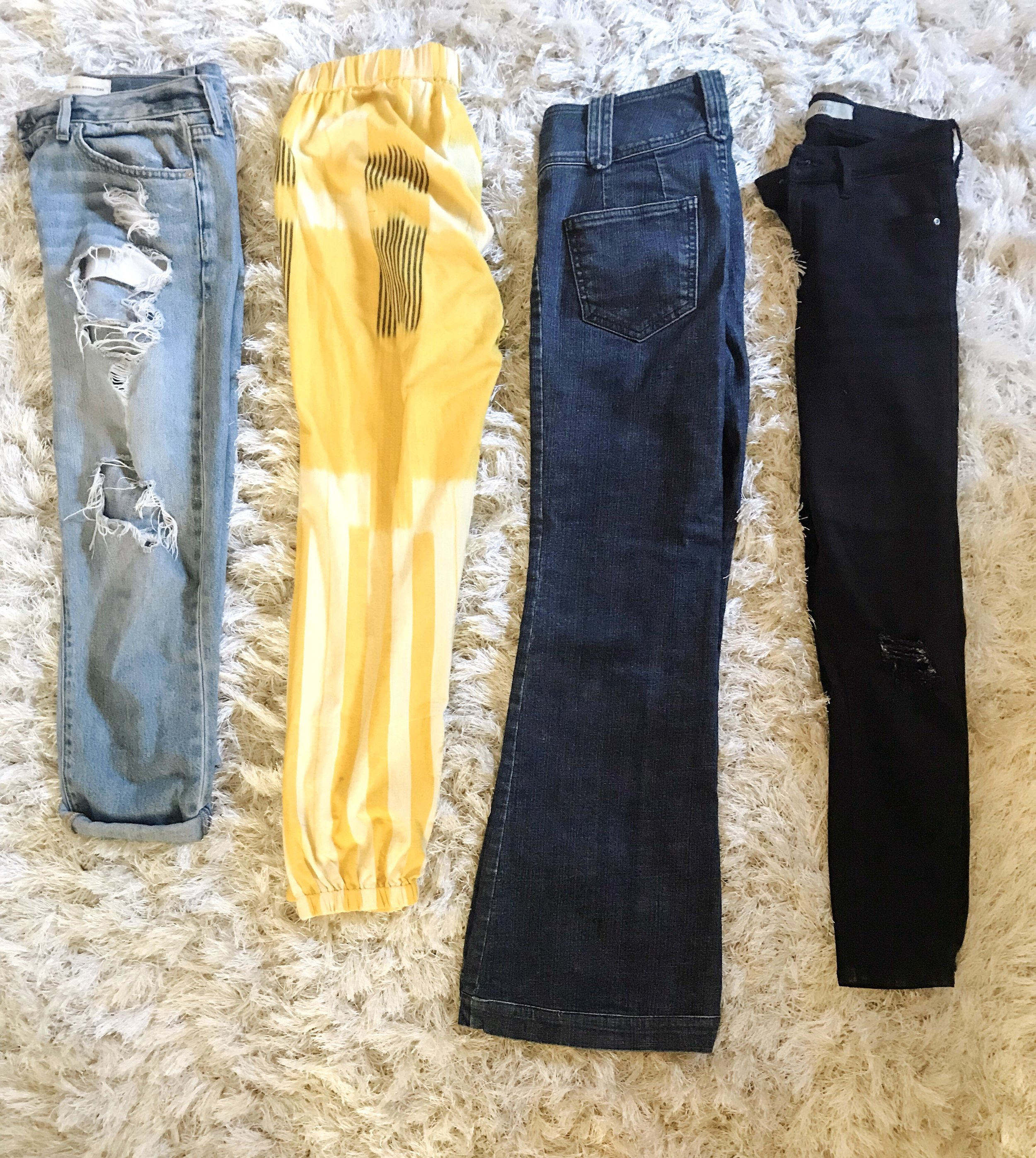 Ripped Boyfriend Jeans: Gap from ages ago, Yellow pants:  Matter Prints , Bell Bottoms: Furst Premium Denim from over 10 years ago, Black jeans: Second-hand Top Shop