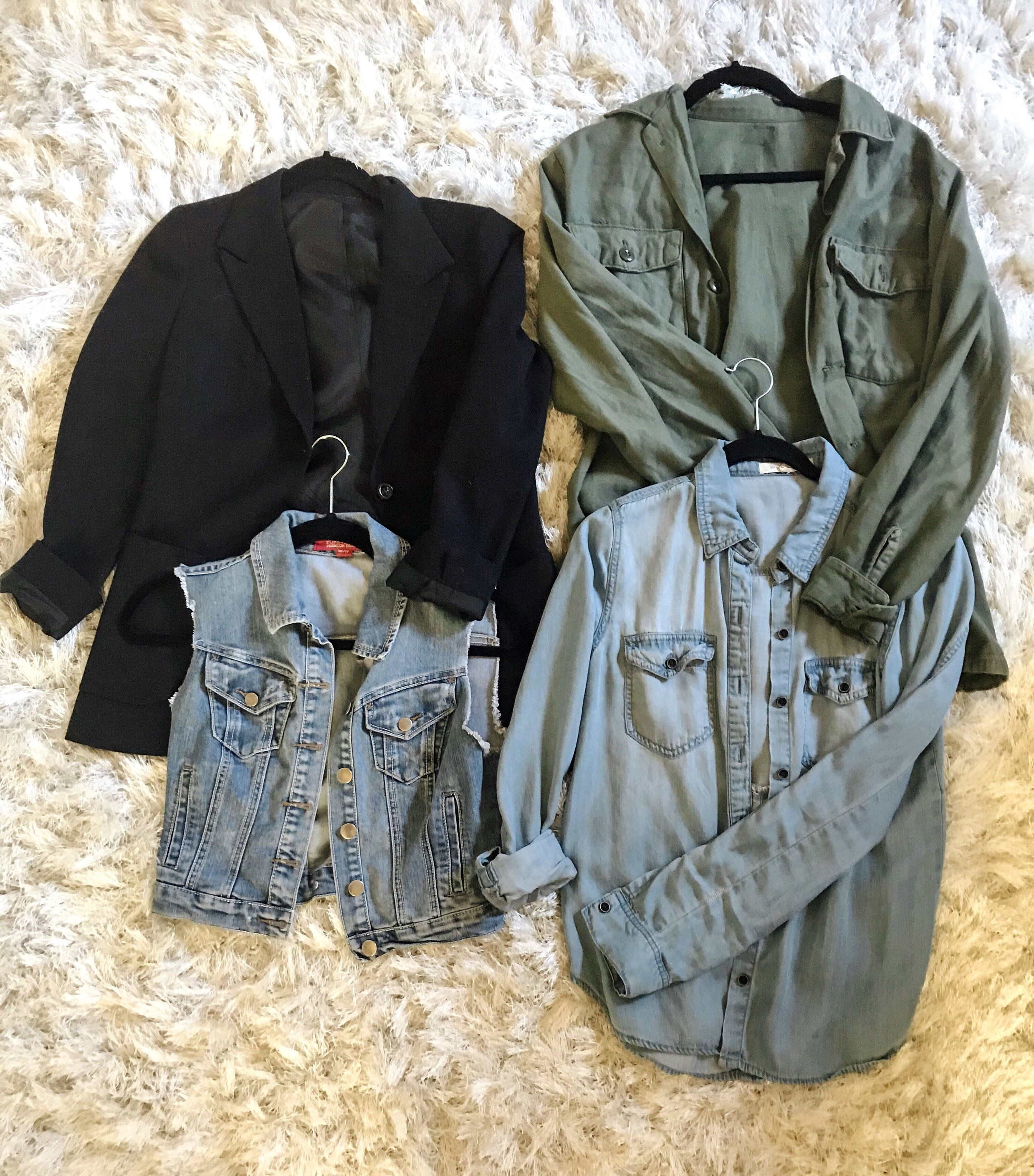 Blazer: Vintage from  Cluebelle , Green jacket: Vintage, Denim vest and shirt: Forever 21 I've had each for about 8 years
