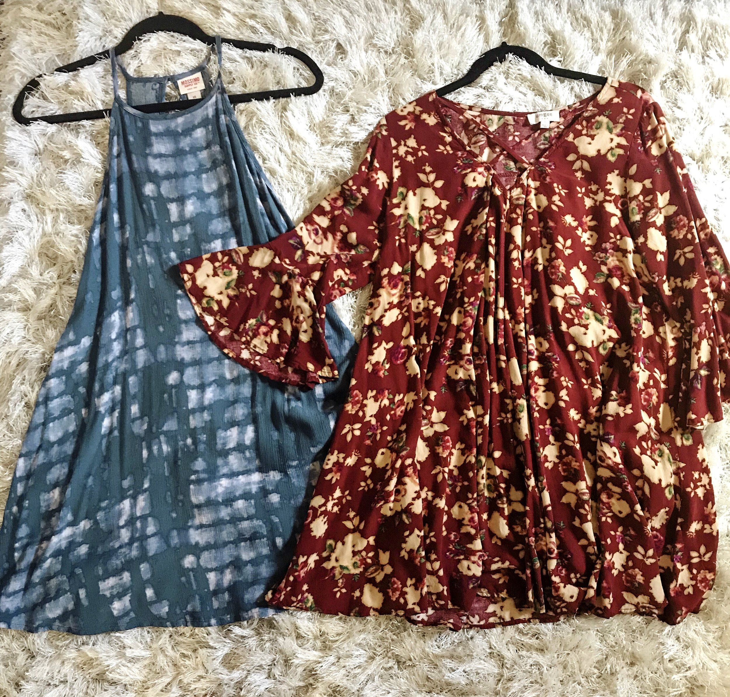 mini tie-dye dress and floral dress