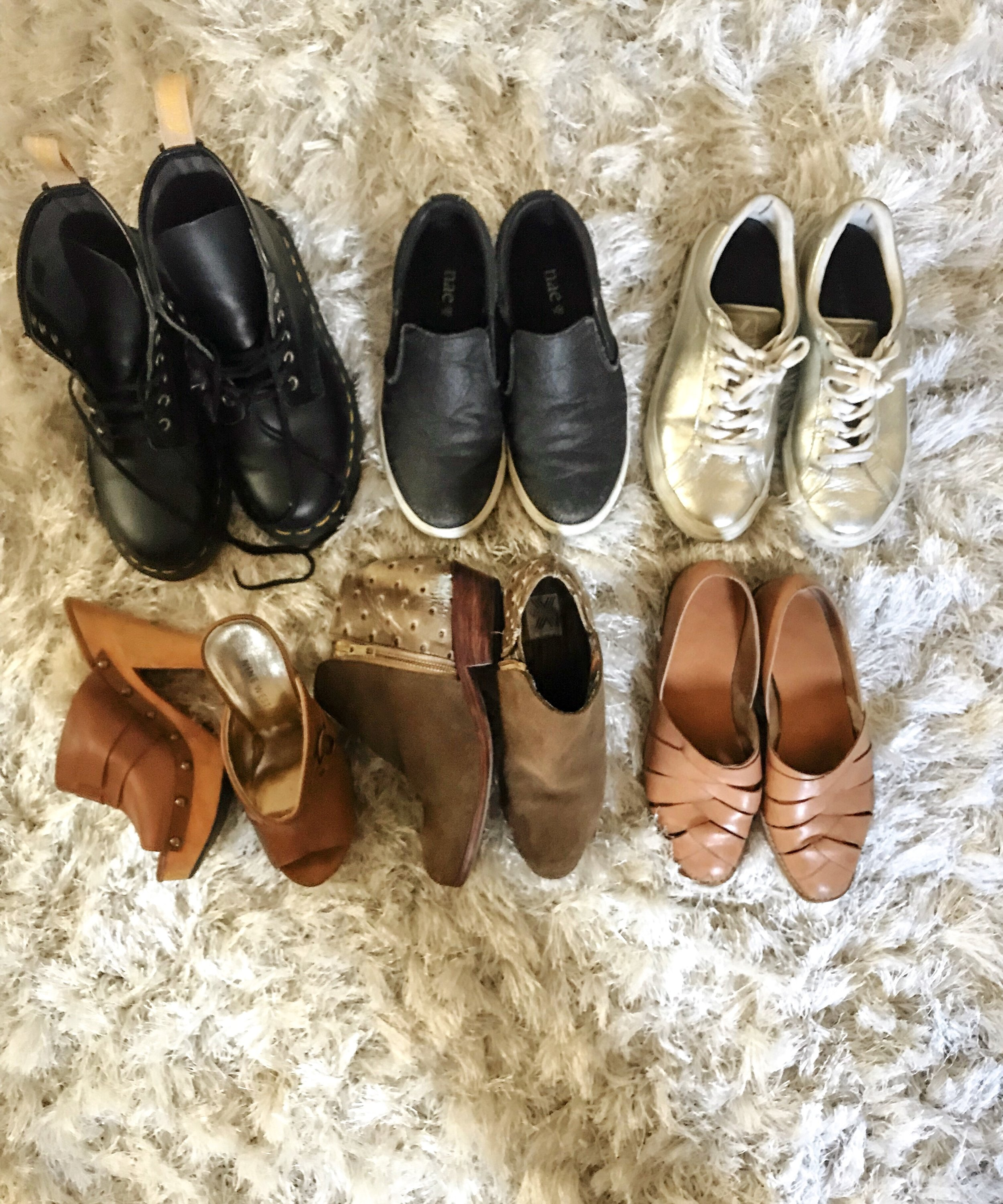 Top from L to R: Vegan Doc Martens,  Nae Vegan ,  Veja   Botton L to R: Second-hand Nine West, Uxibal, Vintage Liz Claiborne