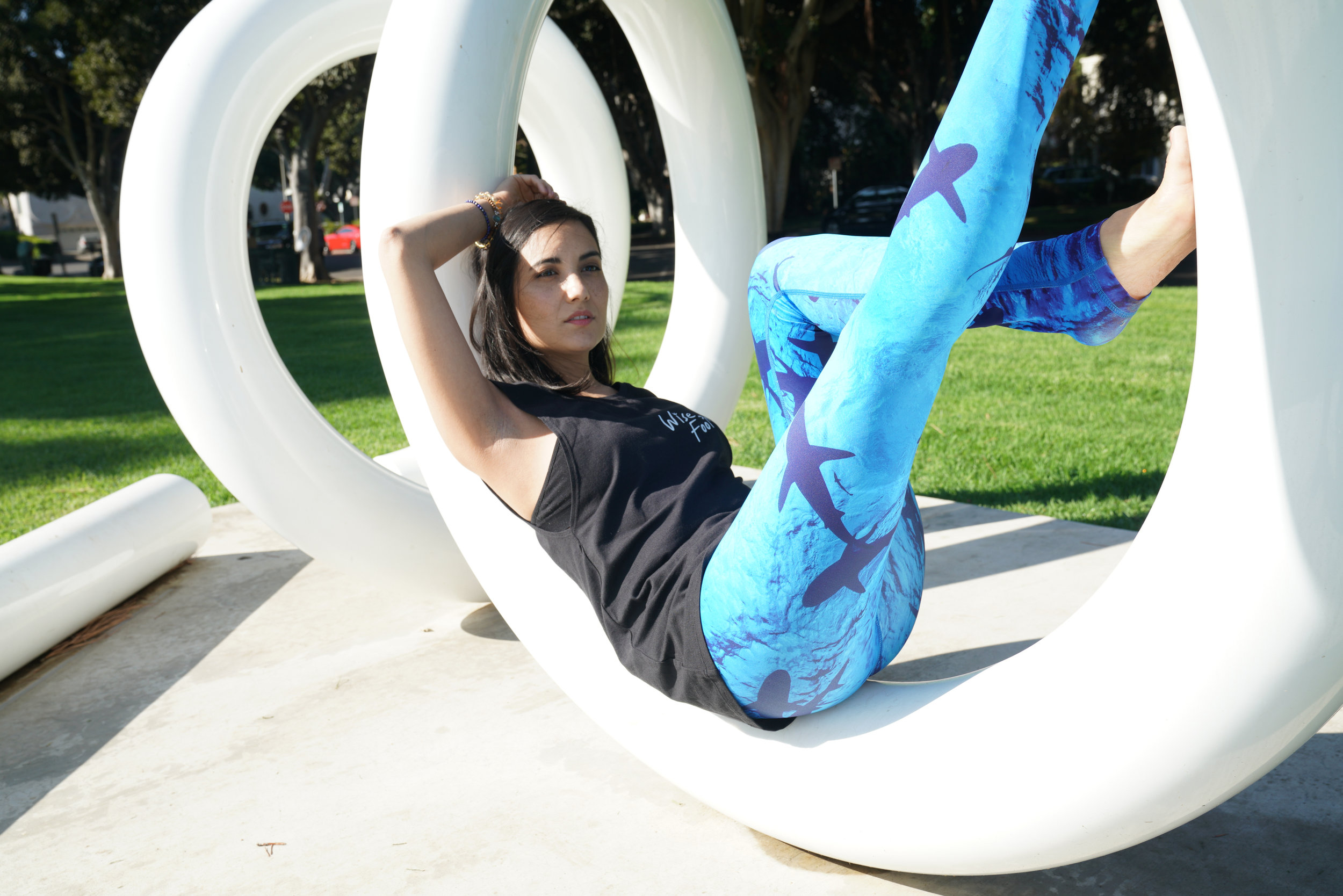 Recycled polyester leggings from  W  ise Fool . Photo by  Anais Ganouna