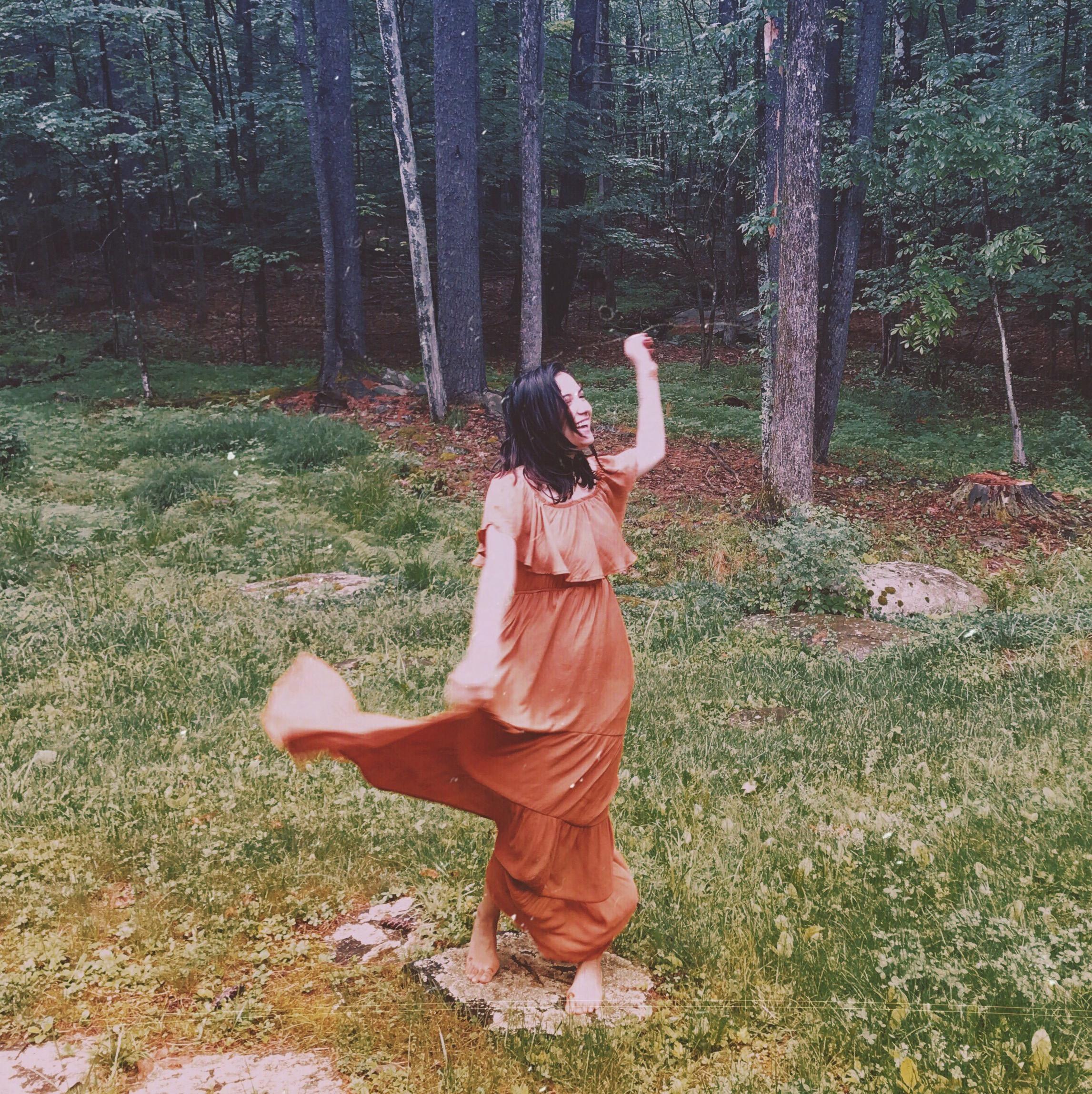 dancing woods brown flowy dress