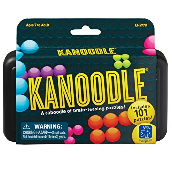 Knot your noodle! Construct caboodles of 2-D and 3-D puzzles with this brain-twisting solitaire game. Pick a puzzle from the book, set up the challenge, and then place the remaining pieces to solve the puzzle. Hundreds of possible combinations, but only one completes the Kanoodle! $13.99
