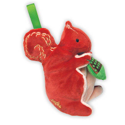 from our friends at Eeboo, some great new plush rattles - squirrels, dragons, birds, and more