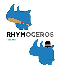 """In Janik Coat's much-anticipated follow-up to  Hippopposites , a blue rhinoceros unabashedly demonstrates 16 pairs of rhyming words. His ability to appear """"stinky"""" and """"inky,"""" or """"caring"""" and """"daring,"""" oftentimes lands him in compromising contexts. Fortunately, he doesn't seem to mind. A super-sized board book with special features. $15.95"""