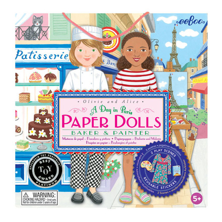 Paperdoll sets from Eeboo. Each contains two different dolls on thick paper, backgrounds, and clothes.