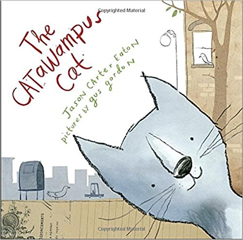 """The catawampus cat walks with a slant. And his skewed point of view has everyone in town looking at everything with fresh eyes. Even Bushy Brows Billiam who never notices  anything,  including what time class is over, spots the catawampus cat, and now he's a star student! And when the town librarian sees the catawampus cat, she pulls the """"wrong"""" book from the shelf, sending her into a life of adventure. The catawampus cat is in town and  everything is about to change. $16.99"""
