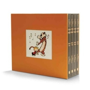A four-volume slipcased paperback edition of the original best-selling set includes all the Calvin and Hobbes cartoons that appeared in syndication and celebrates Watterson's creative mastery through the infamous antics of the intrepid 6-year-old and his imaginary tiger cohort. $100
