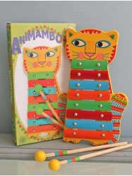 We have a collection of animal-themed musical instruments including castanets, harmonicas, xylophones, and ukeleles.