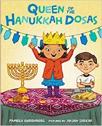 In this sweet and humorous picture book,  Queen of the Hanukkah Dosas , a multi-cultural family (Mom's Indian; Dad's Jewish) celebrate Hanukkah while incorporating traditional Indian food. Instead of latkes, this family celebrates Hanukkah with tasty Indian dosas. $16.99