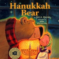 On the first night of Hanukkah, one huge, hungry bear smells Bubbe Brayna frying her legendary latkes. The bear shows up at her door — at the same moment, it happens, that she's expecting the village rabbi. Thanks to her poor eyesight, a fun-filled case of mistaken identity ensues as Bubbe Brayna thinks the bear is the rabbi; she feeds him latkes and insists he play a game of dreidel and light the menorah. $6.99
