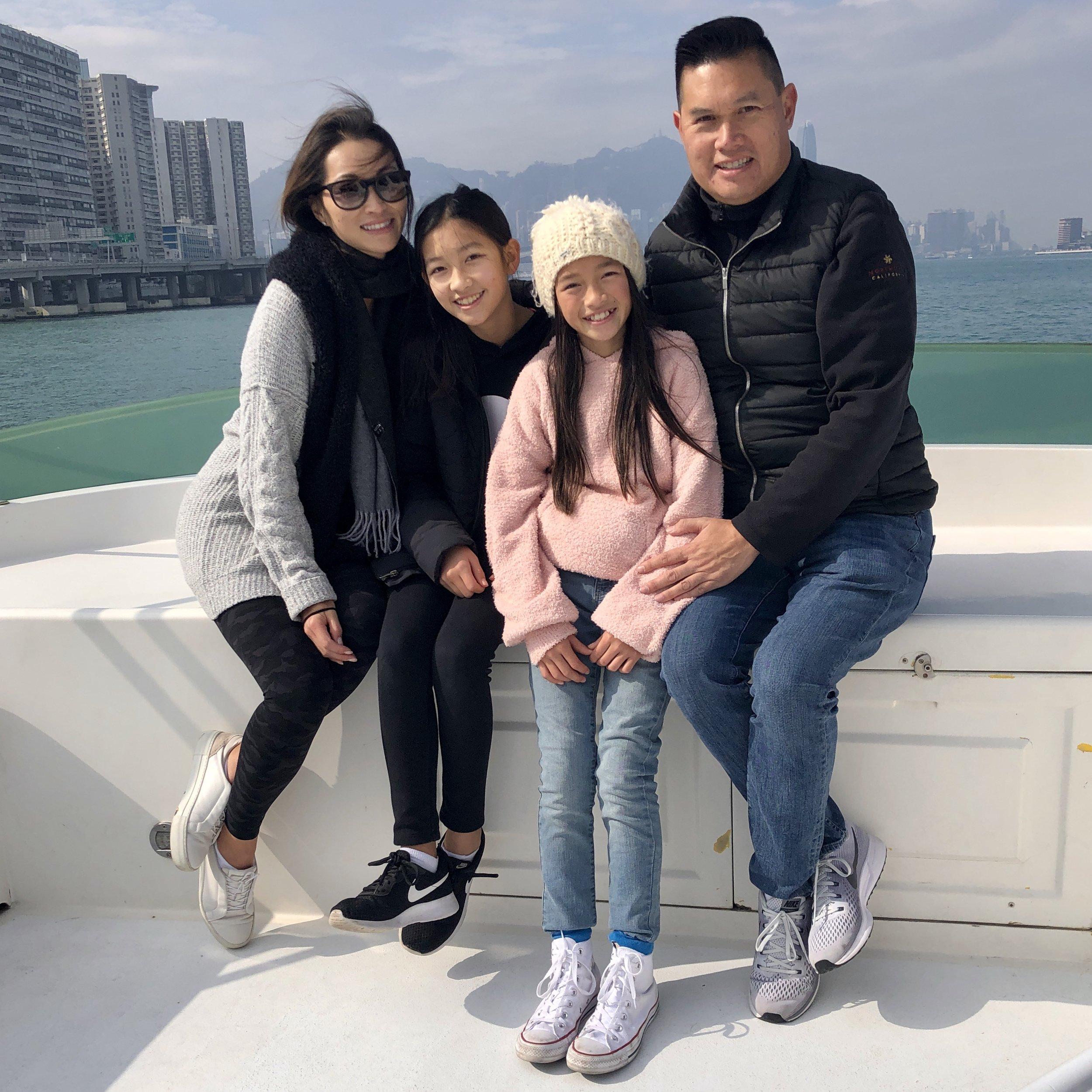 Steve's family in Hong Kong Harbor