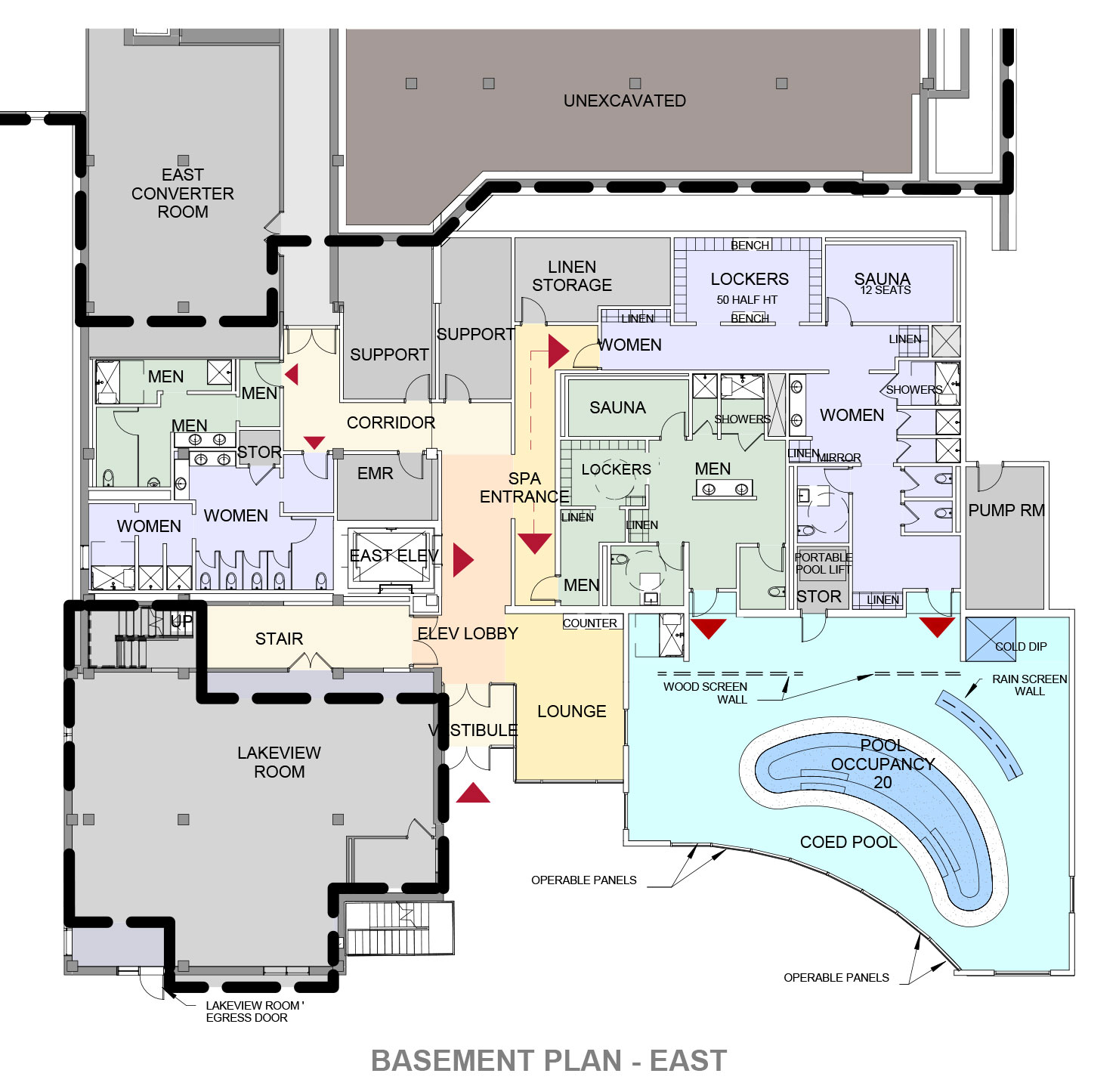 Basement Level Plan showing the Water Therapy Complex Expansion