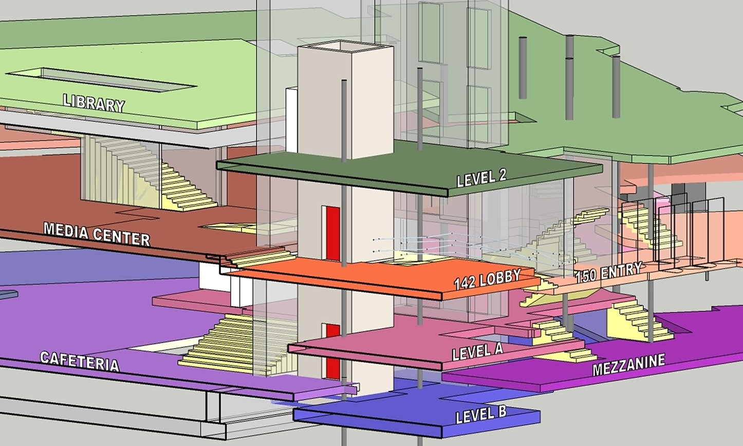 Model diagram showing the complex's different levels and the elevator that was added in Phase 1 of our renovation.