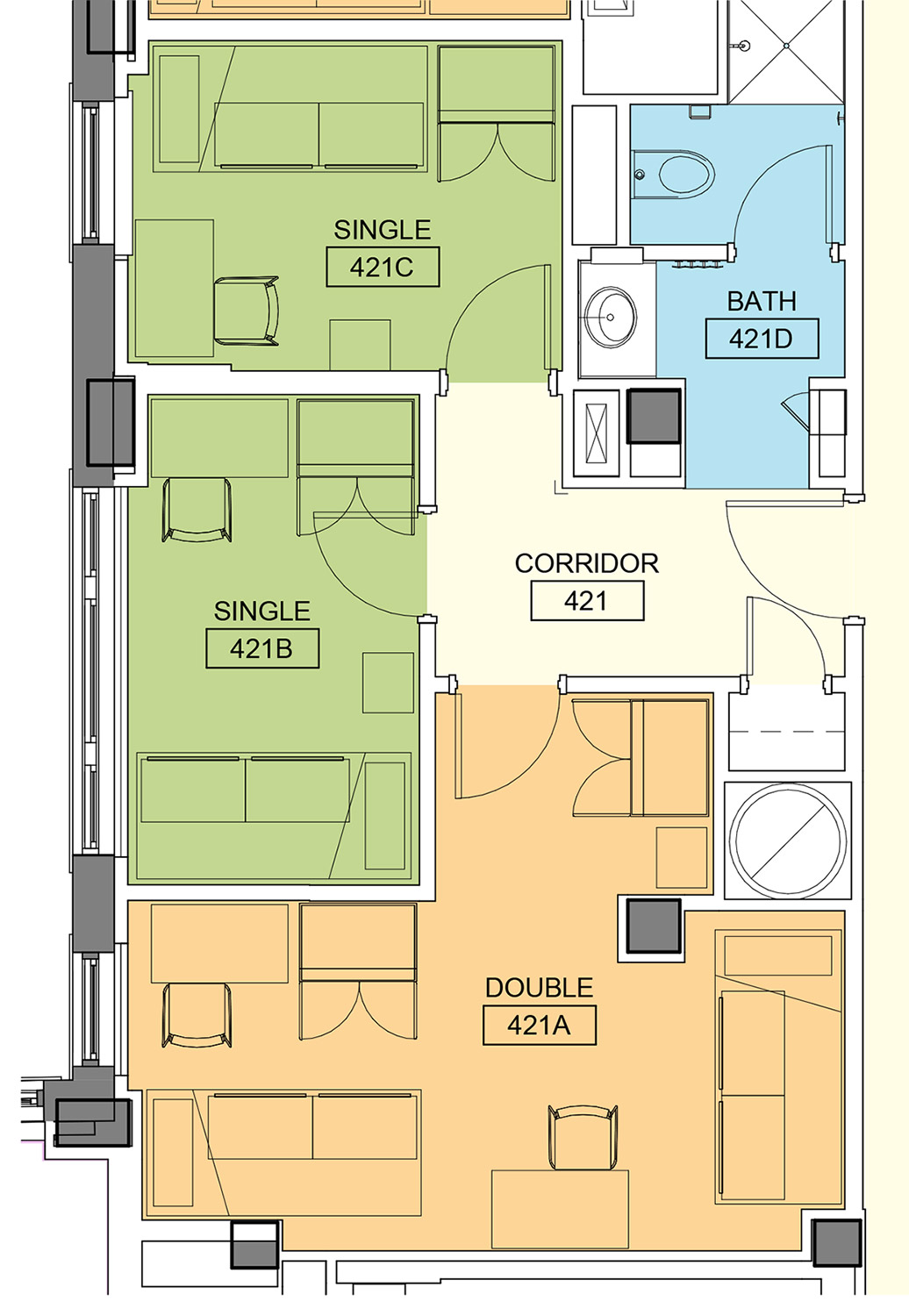 Typical Four-Person Suite