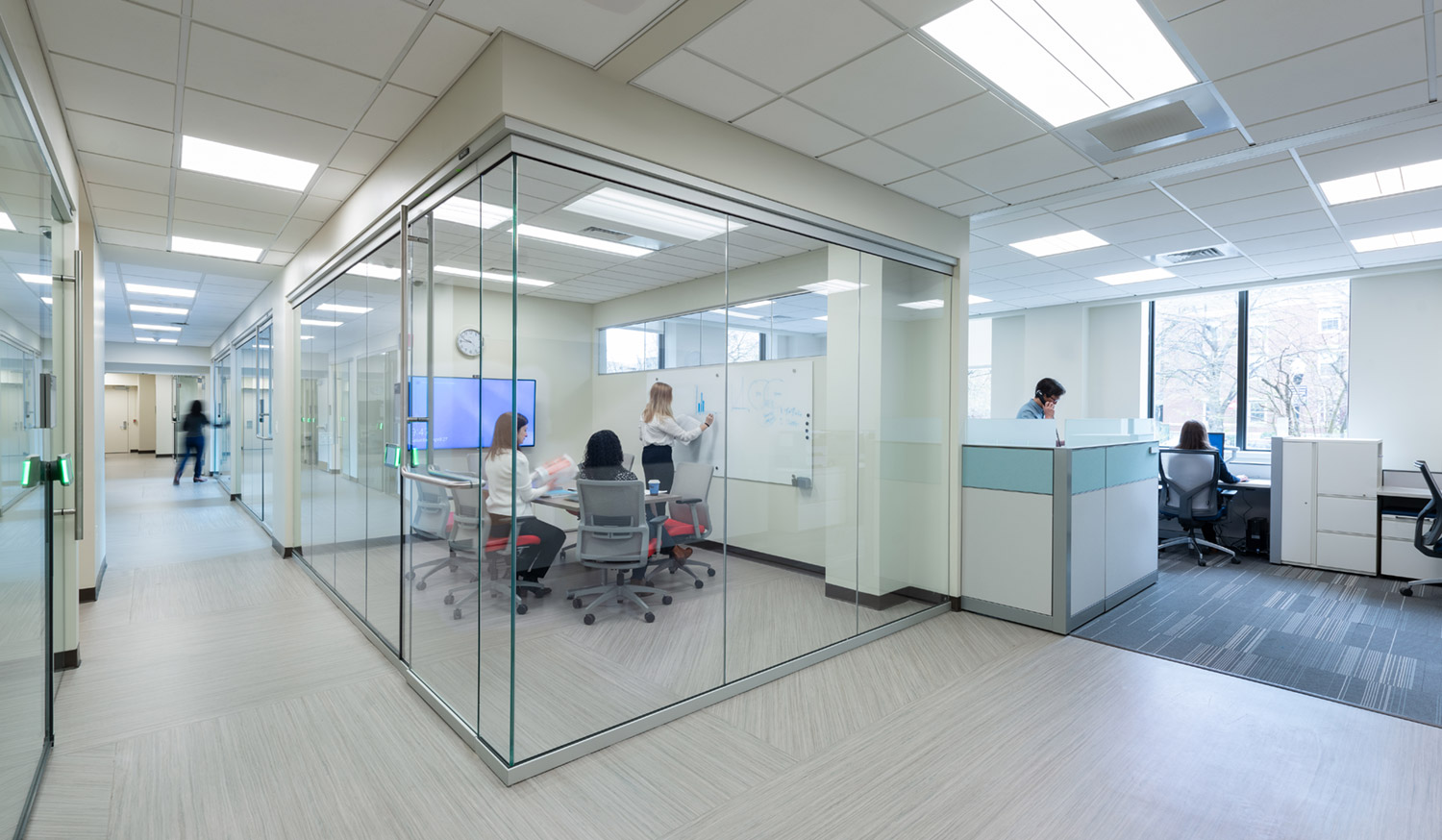 Conference room and open work areas beyond