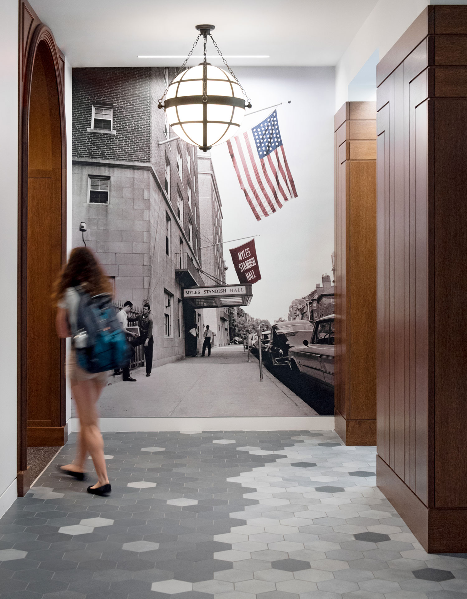 Historic photo mural in the lobby showing the original entrance