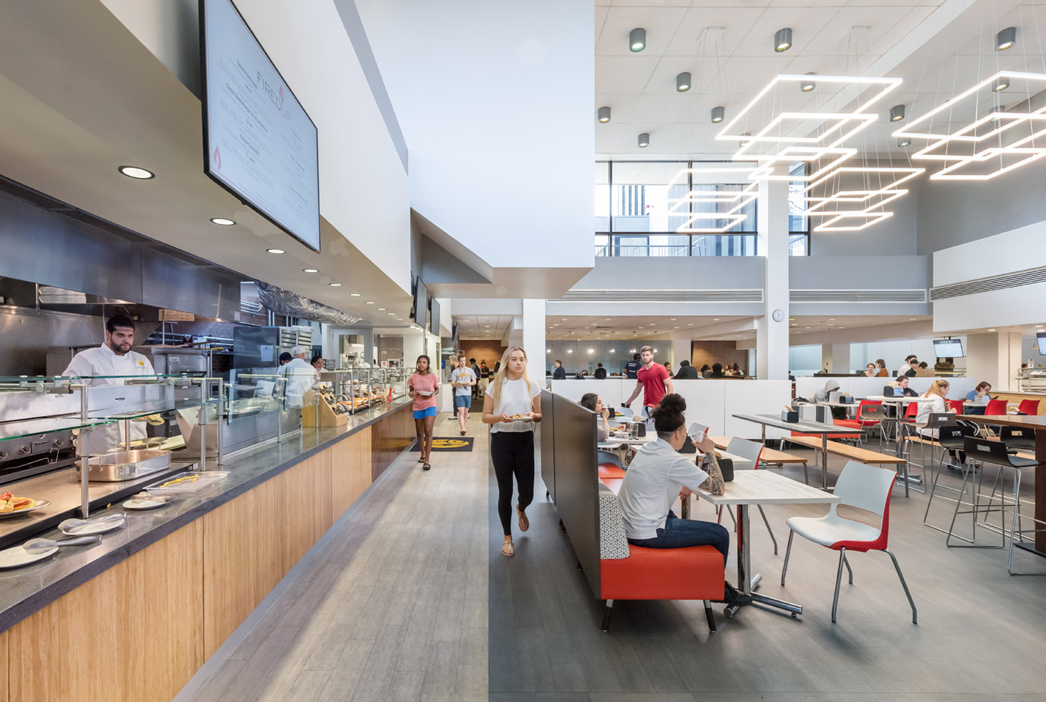 Reconfigured servery with new dining areas within the atrium