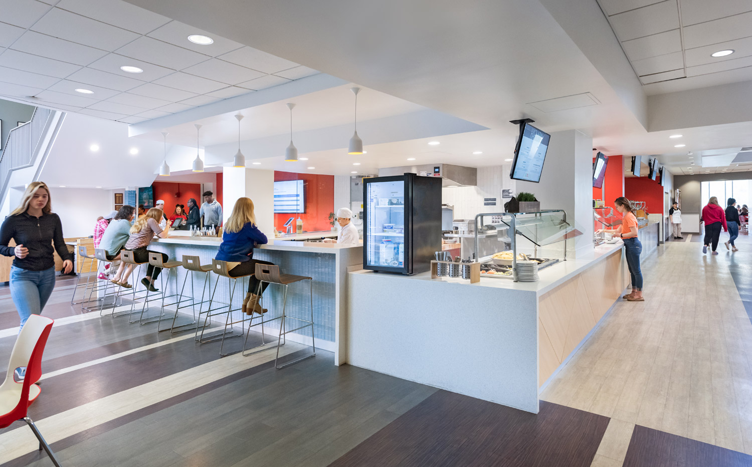 New counter seating areas allow students to dine alongside cooking stations