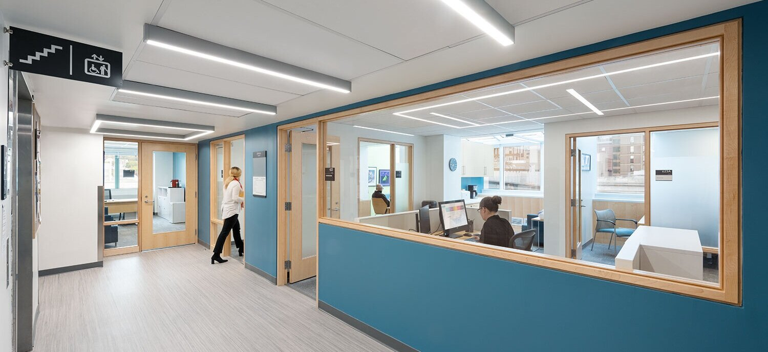 Lab Entrance - View into the Systems Biology Administration and Finance Suite