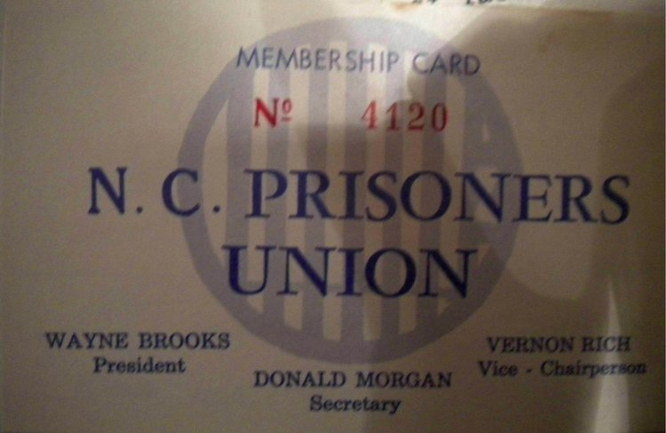 North Carolina Prisoners Union Membership Card, T.J. Reddy Collection, University of North Carolina-Charlotte Special Collections