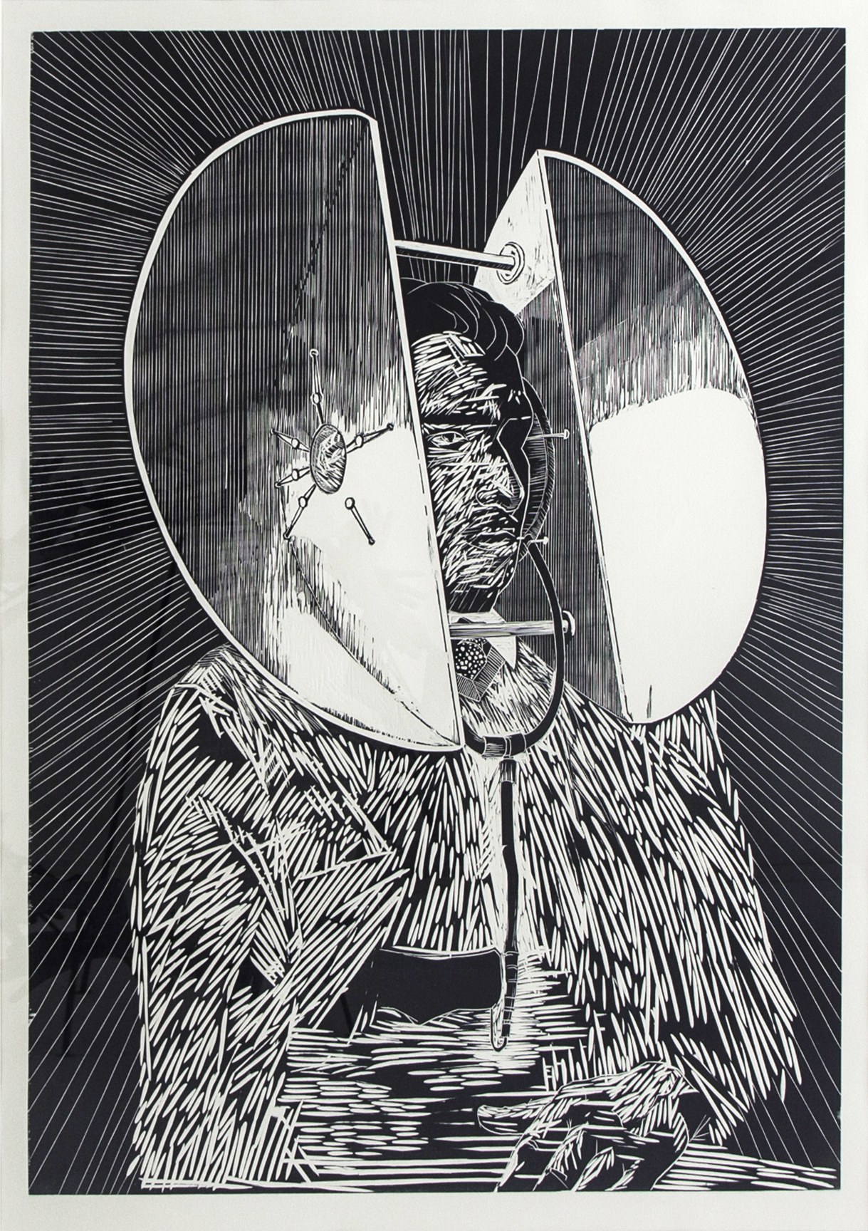 Autoportrait 2014, woodcut on paper, 137 x 100 cm, 1/5 (Ed. 5 + 2 AP)