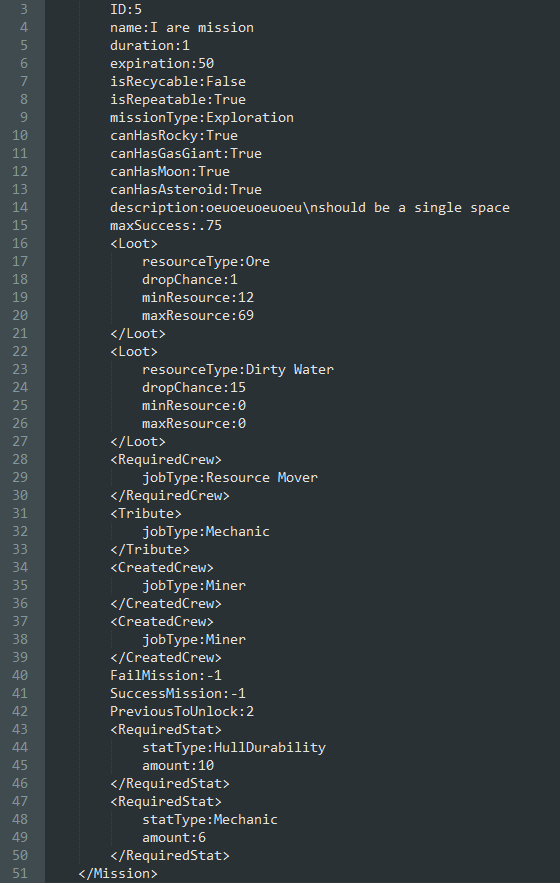 This is the XML for a generic mission