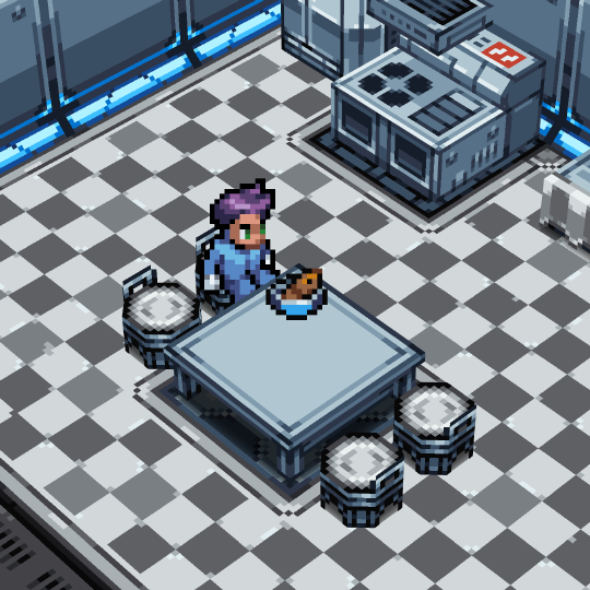 A colonist prepares to eat lunch. Alone.