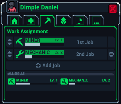 Job tab, showing assigned jobs and skills