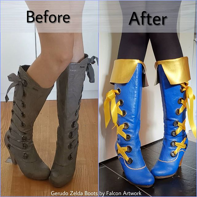 Sooo here is the making of my Gerudo #Zelda Boots :3 I'm working on a #Cosplay based one the design by @sakimi.chan (check her stuff out 😍). So I started with some old boots which I bought for 10 bucks at a thrift store 🎉 First Step was to cut away all the ugly grey ribbon and to use maske tape on the heels. After that I simply painted everything with a mixture of acrylic paint and flexi paint. 2 layers 💪. I added a fake.... I dunno the english word for it... Well I added the piece of faux leather at the top and painted it and the heels gold. The last step was to glue on a tiny piece of braid to match the rest of the costume 😊 Aaaan done! These boots are made for walking! 💃 . . . #Zelda #zeldacosplay #princesszelda #botw #botwcosplay #gerudolink #gerudocosplay #gerudozelda #sakimichan #falcon #falconcosplay #falconartwork #stepbystep #wip #tutorial #cosplayboots #flexipaint