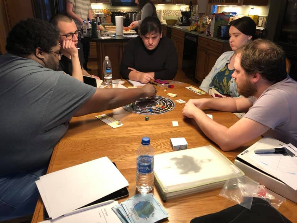 Kathleen Mercury (top) running a playtest of one of her personal projects.