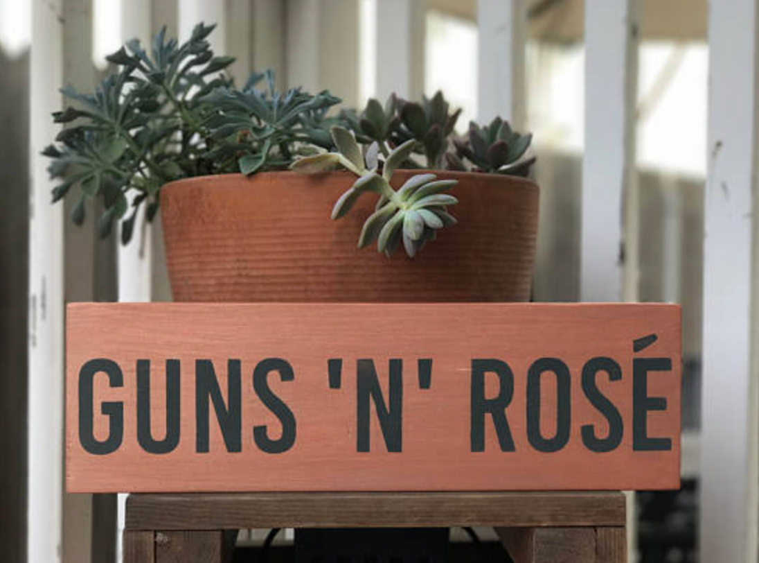 ThistleAndBud, Guns 'N' Rosé, $25 - Photo Credit: ThistleAndBudon Etsy