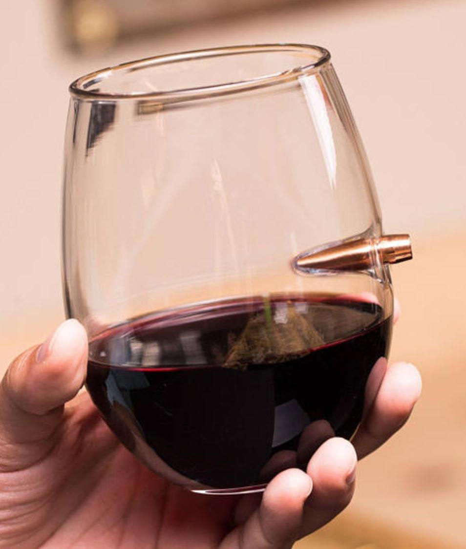 LuckyShotUSA, Unique Real Bullet .308 Caliber Wine Glass, $19.99 - Photo Credit: LuckyShotUSAon Etsy