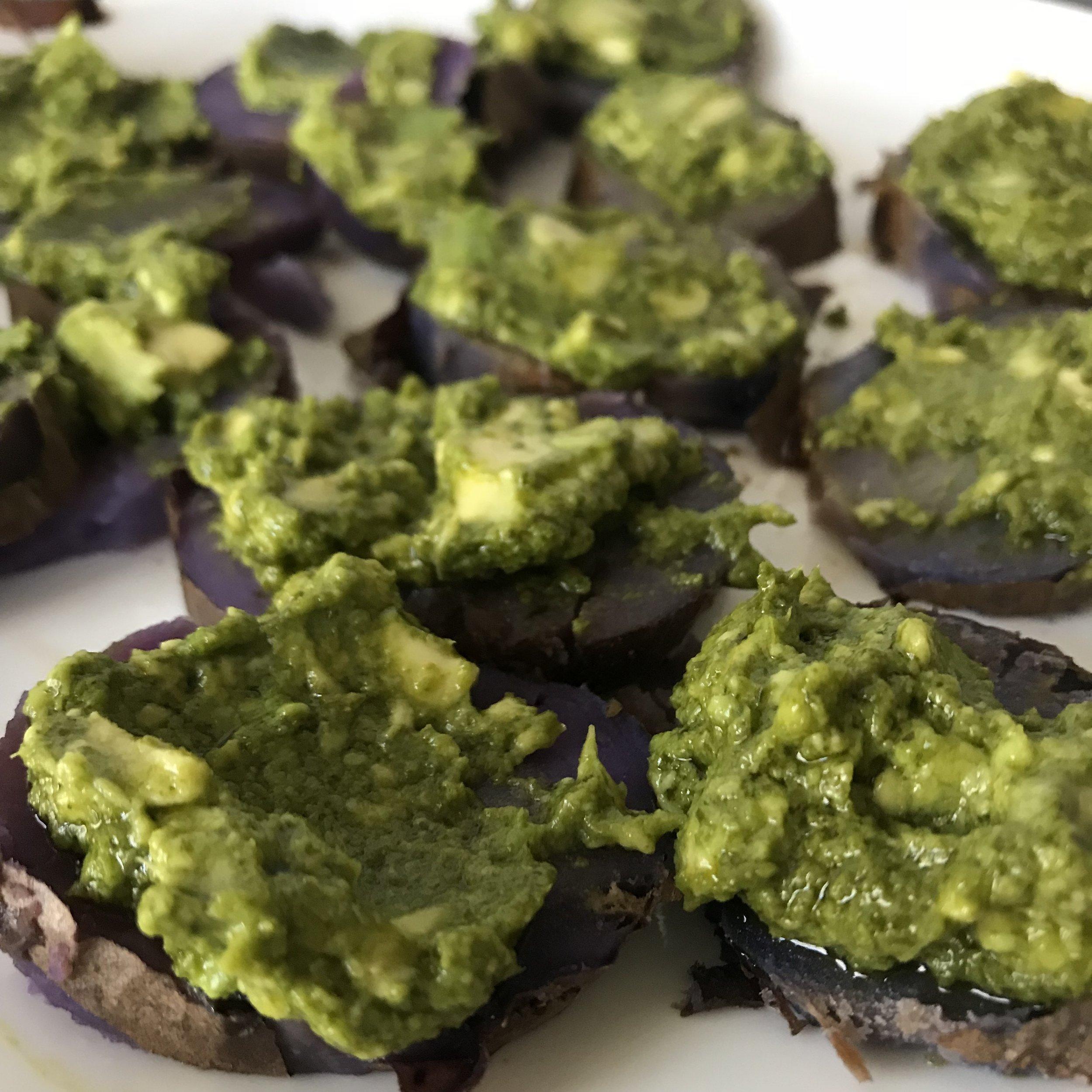 Purple Potatoes with Kale Pesto and Avocado