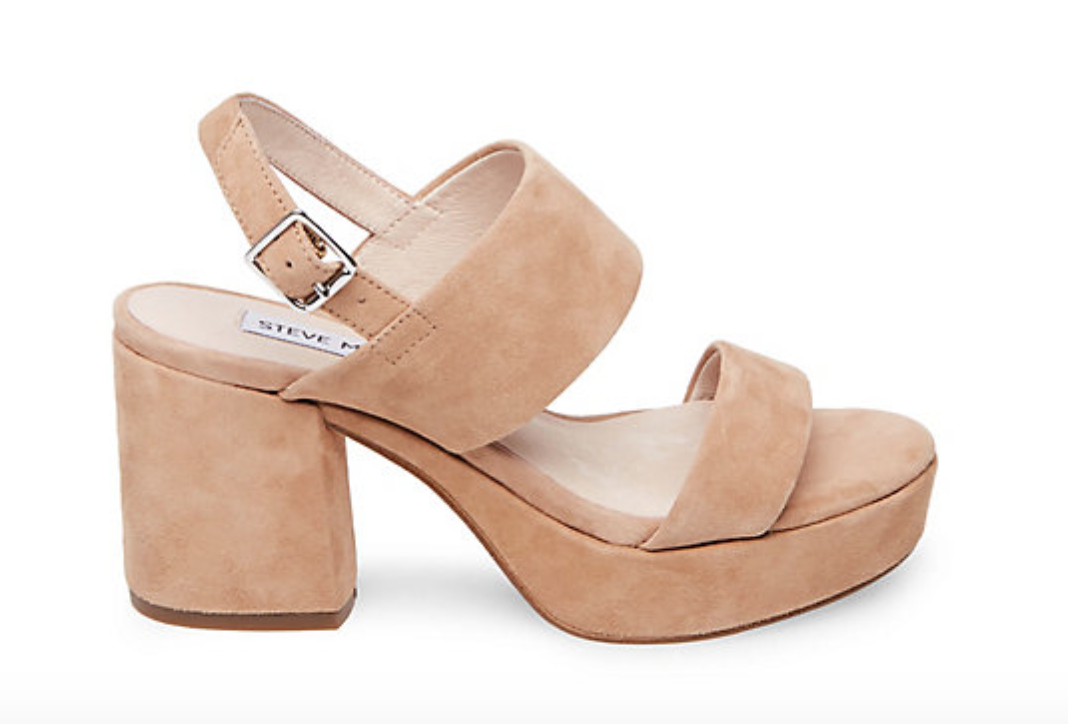 Reba Sandals in Tan Suede from Steve Madden, $89.95  Photo Credit:  Steve Madden