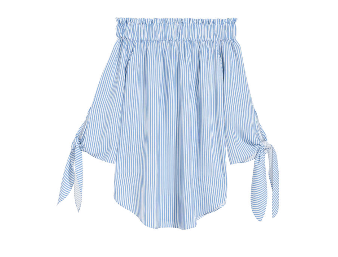 Off-the-shoulder top in blue/white stripes from H&M, $14.99  Photo Credit:  H&M