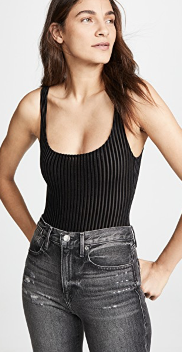 Velour Ribbed Bodysuit in Black from Only Hearts, $78  Photo Credit:  Shopbop