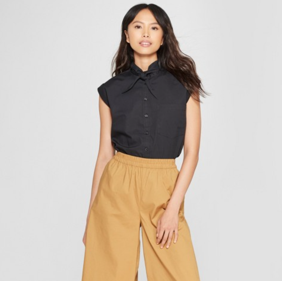 Women's Boxy Tie-Neck Shirt by Who What Wear, $24.99  Photo Credit:  Target