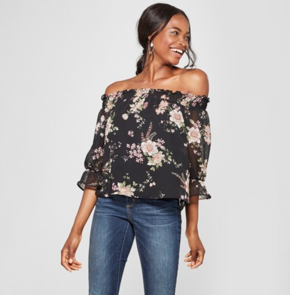 Women's Floral Print 3/4 Sleeve Off the Shoulder Top by Lily Black, $22.99  Photo Credit:  Target