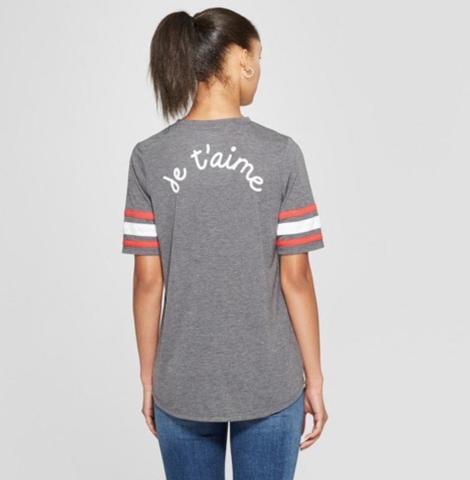 Women's Short Sleeve More Love Je T'aime Graphic T-Shirt by Mighty Fine, $14.99  Photo Credit:  Target