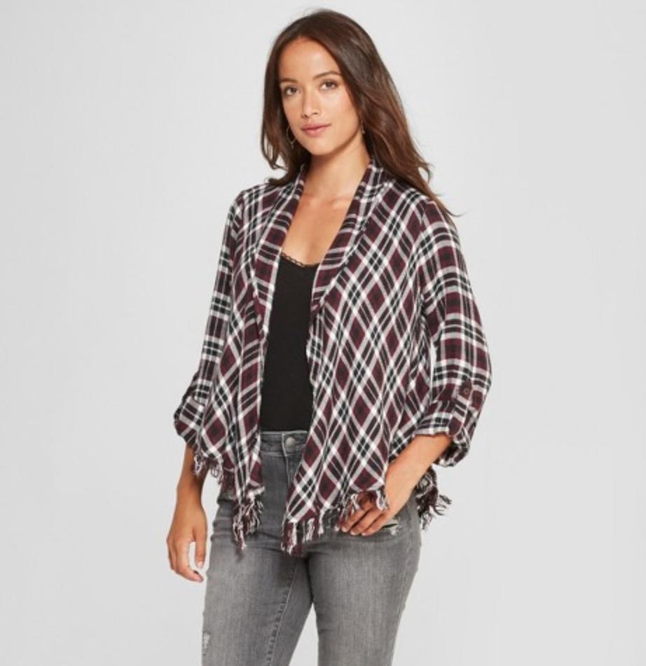 Women's Plaid Fringe Open Layering Jacket by Knox Rose, $27.99  Photo Credit:  Target