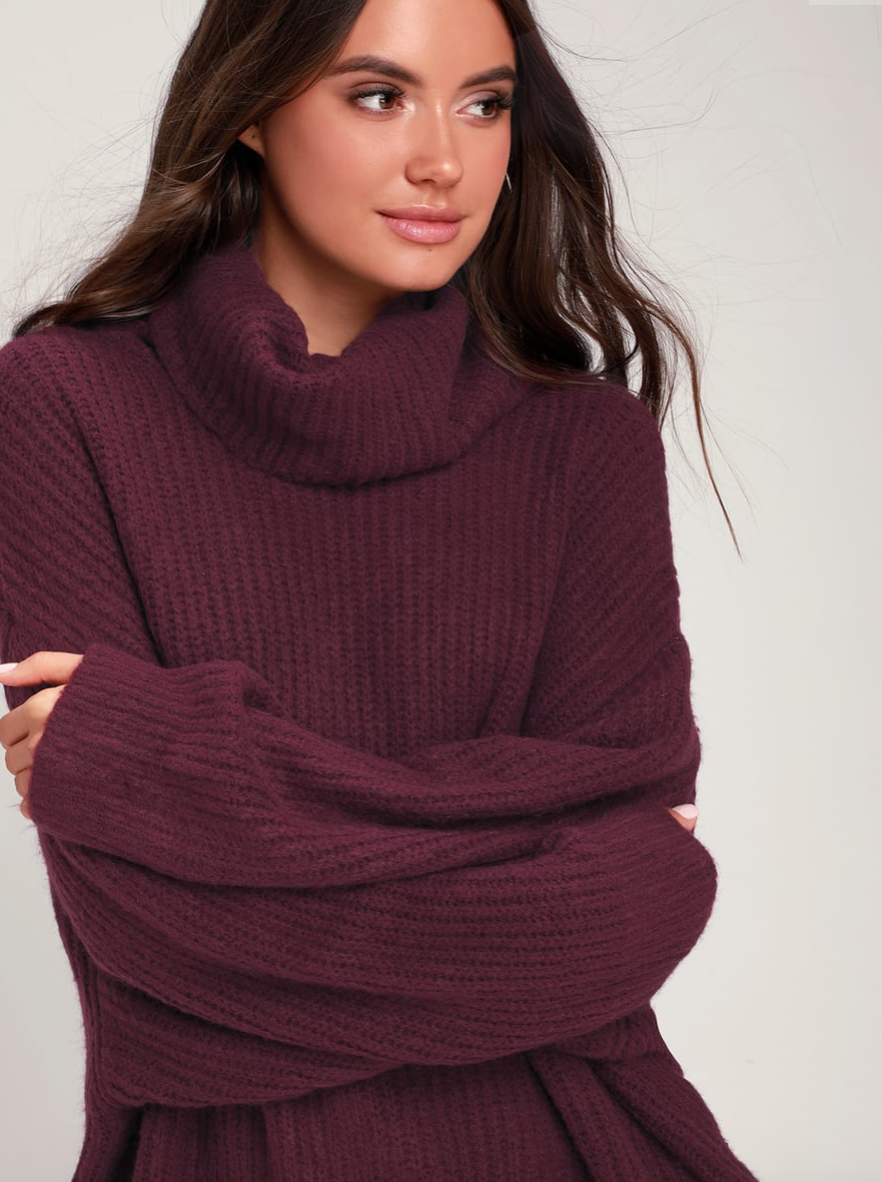 Conway Plum Purple Oversized Sweater, $58  Photo Credit:  Lulus