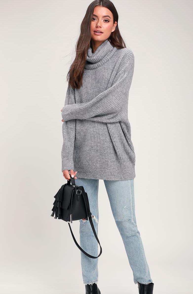 Chic Grey Knit Sweater, $58  Photo Credit:  Lulus